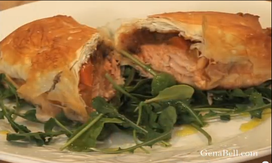 Salmon in Phyllo with Ratatouille