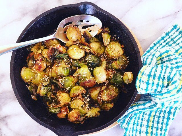 Roasted Brussels Sprouts in a Sauce with fresh lime chilehellip