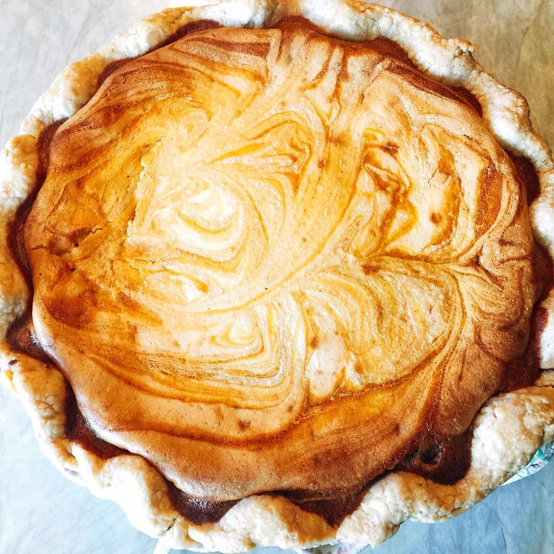 Pumpkin Lemon Cream Cheese Swirl Pie! Happy Thanksgiving!! livelovelaughfood givethankshellip
