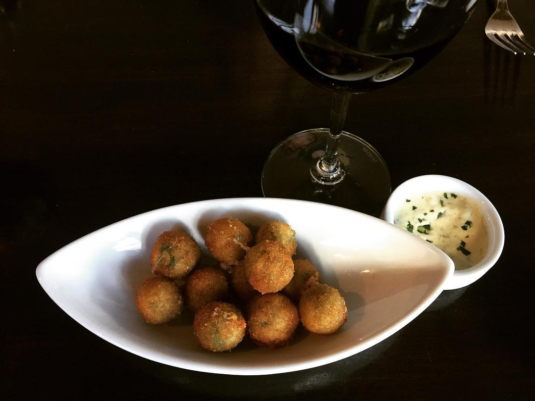 Fried Scamorza Stuffed Olives with Garlic Aioli  O hellip