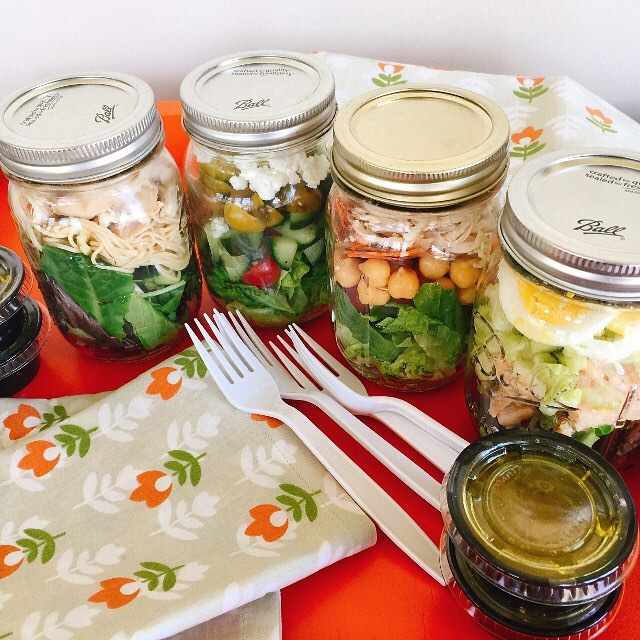 4 Mason Jar Lunch Salads  Only 1 Recipe! Delicioushellip