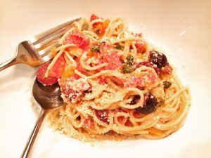 Pasta Puttanesca with Salami Recipe! An Italian Dream! wwwgenabellcom livelovelaughfoodhellip