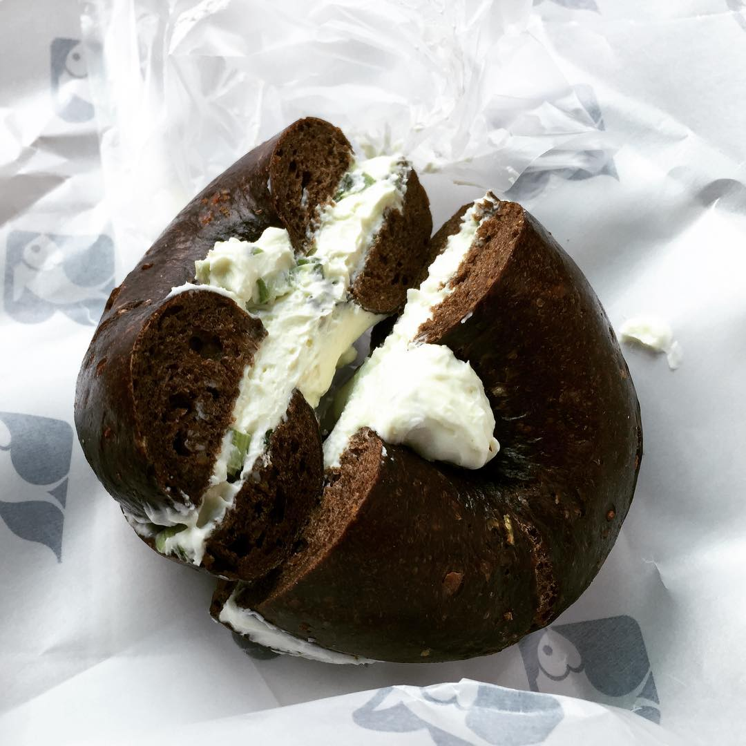 Amazing Pumpernickel Bagel with Scallion Cream Cheese! Russ amp Daughtershellip