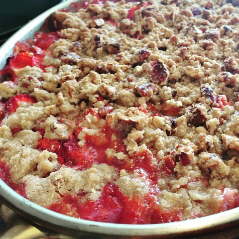 Rhubarb Strawberry Pecan Crisp! I Love the Combination of Tangyhellip