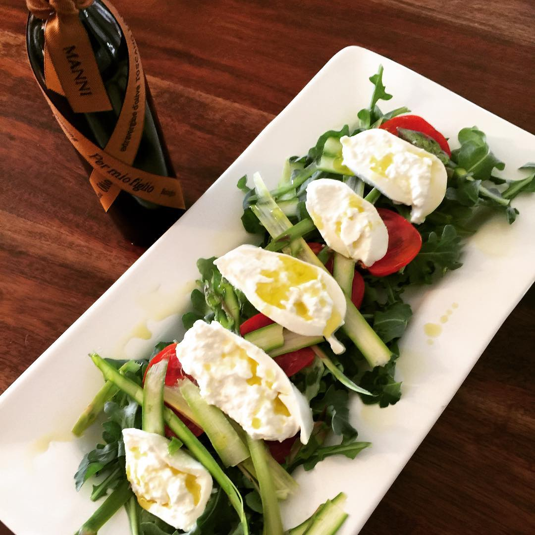 Shaved Asparagus Tomato amp Burrata Salad with Manni Olive Oil!hellip