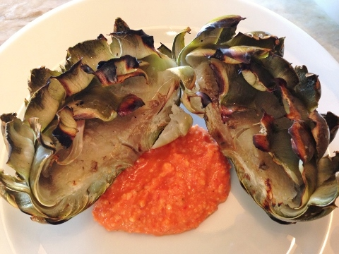 Grilled Artichokes with Romesco Sauce – Recipe!