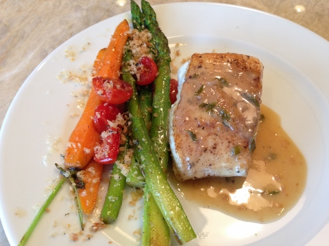Seared Halibut with Beurre Blanc & Vegetables – Recipe Image 1