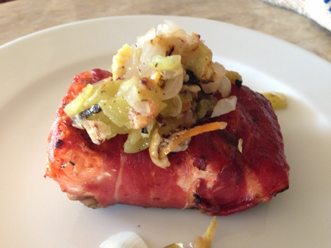 Prosciutto Wrapped Salmon with Grilled Lemon & Cipollini Onion Chutney – Recipe