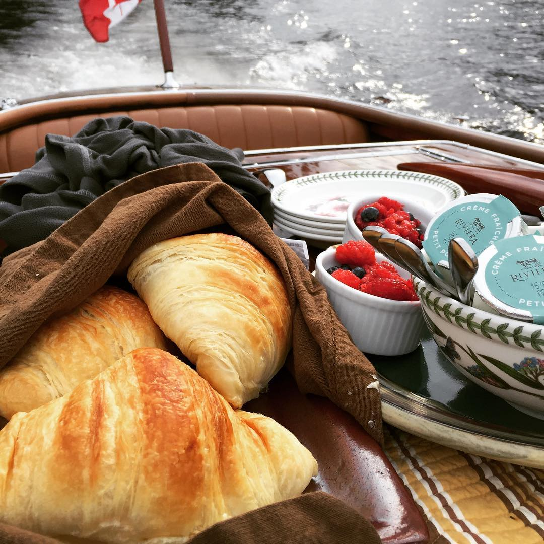 Breakfast on the Gravette at Lake Rosseau Muskoka Lake! Thankshellip