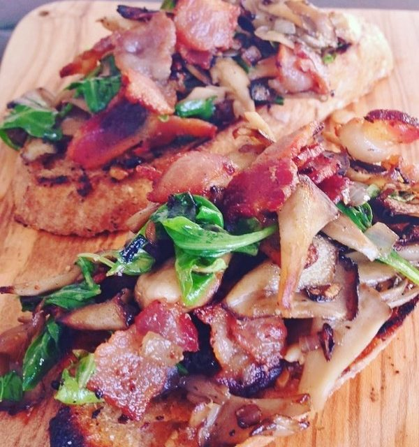 Bacon amp Maitake Mushroom Toasts  One Bite Says ithellip