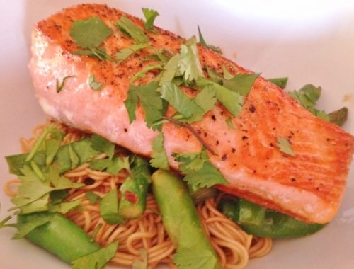 Thai Peanut Salmon & Noodles – Recipe!