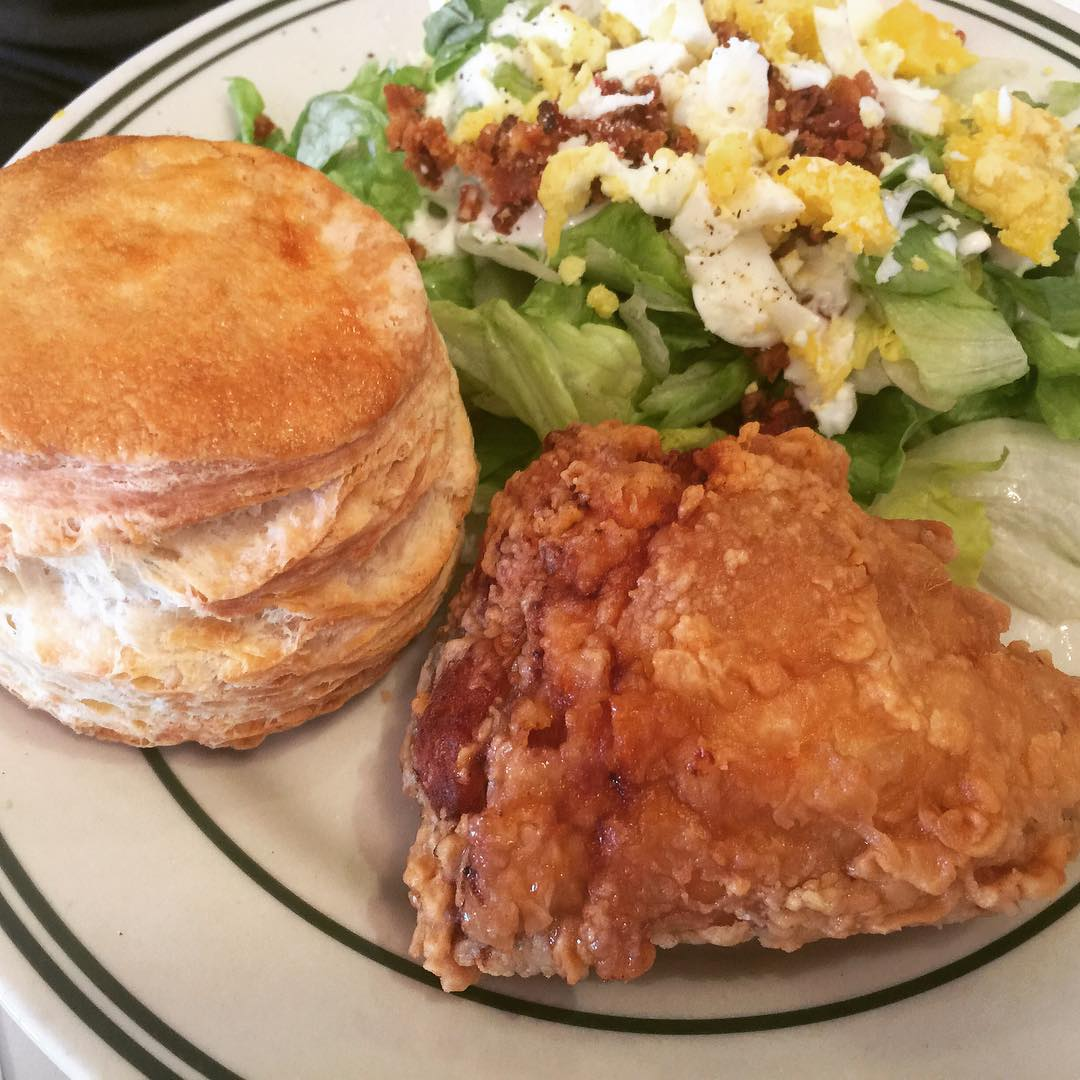 Fried Chicken amp Biscuit with Side Salad! Hah! Pies amphellip