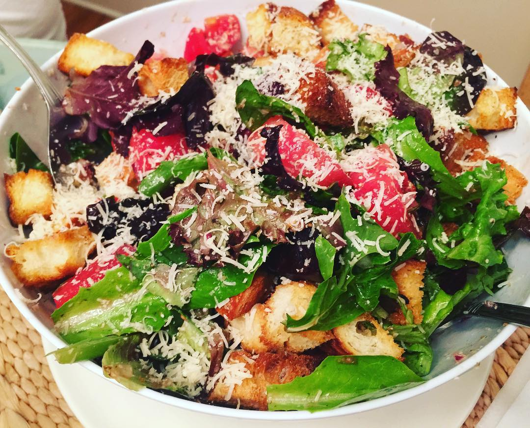 A Little Panzanella Salad while in the Hamptons!! vacation summerhellip