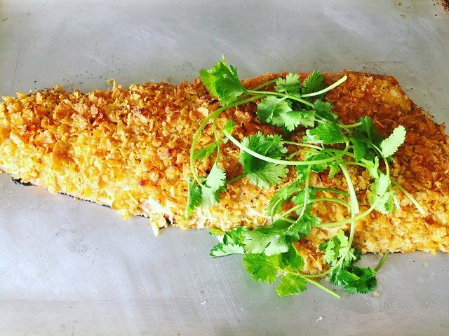 Cornflake Crusted Salmon! Crunchy buttery fish  perfect for ahellip