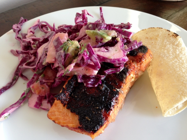 Achiote Grilled Salmon with Pineapple Slaw 103 (640x480)