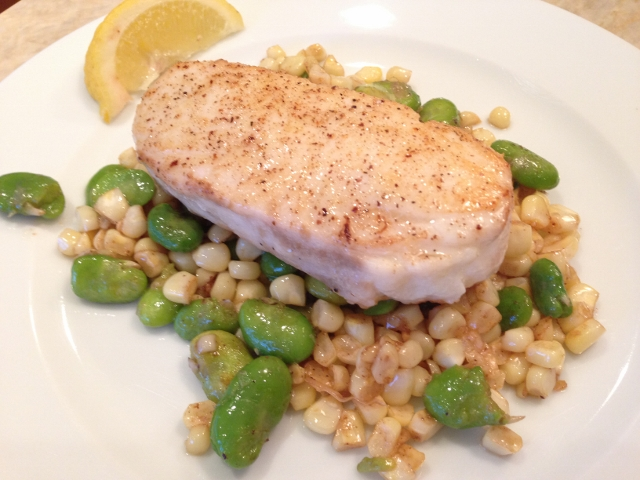 halibut with brown butter sweet corn amp favas recipe