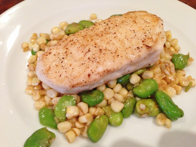 Halibut with Brown Butter Sweet Corn & Favas – Recipe! Image 1