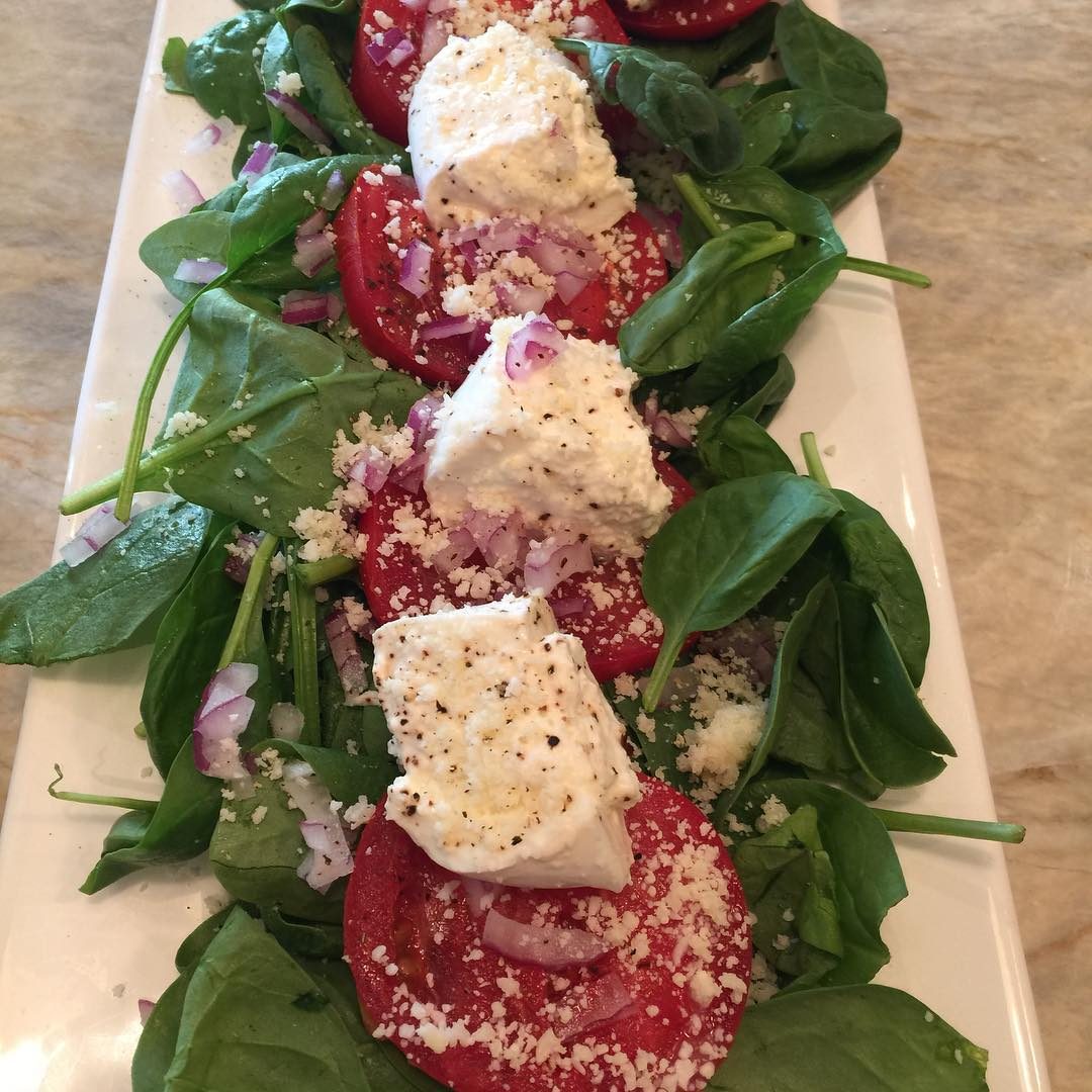 Tomato Burrata amp Spinach Salad! Love Summer! livelovelaughfood love summerhellip