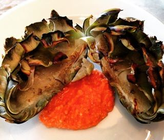 Simple Pleasures  Grilled Artichoke with Romesco Sauce! Recipe athellip