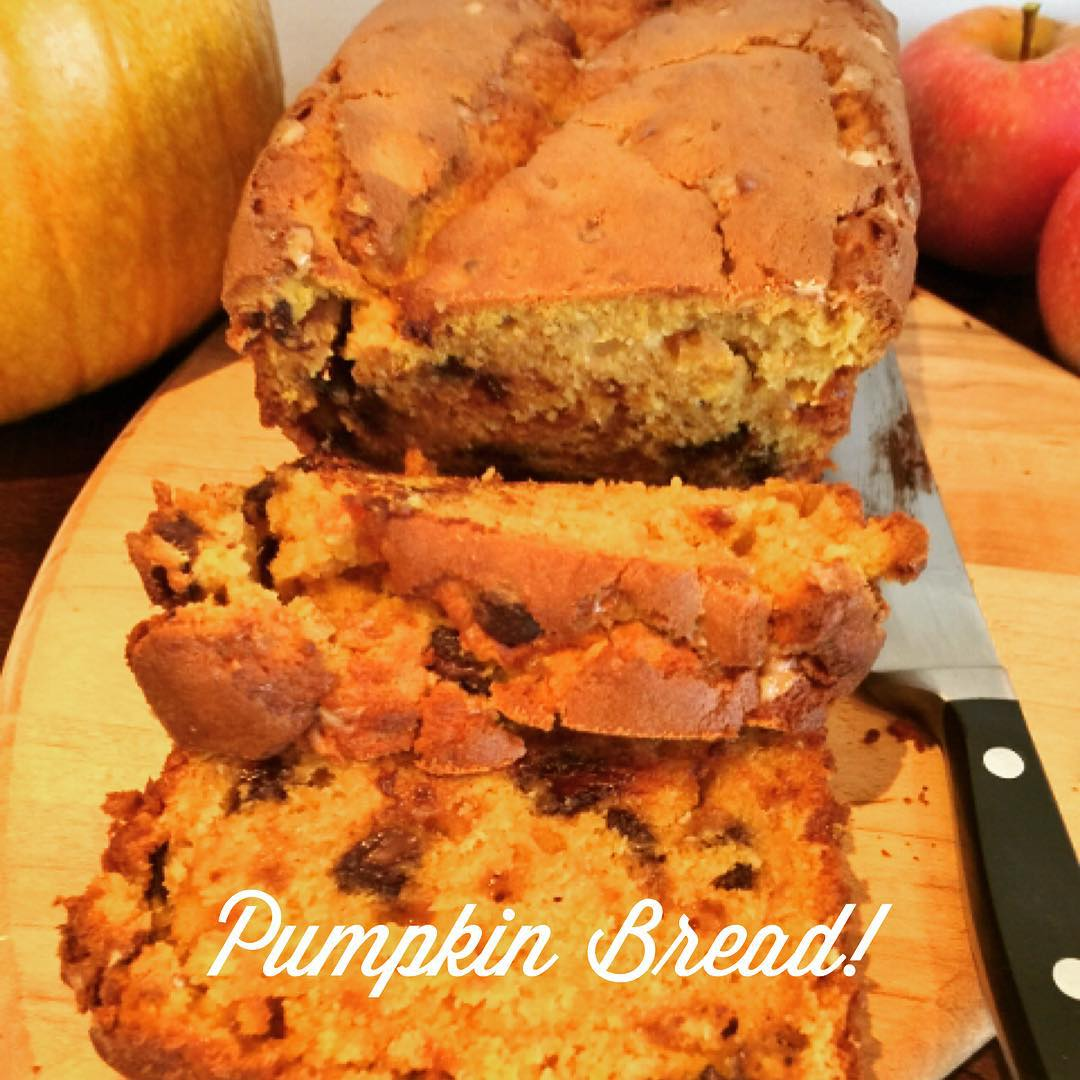 Toffee amp Chocolate Chip Pumpkin Bread  Recipe! Great fallhellip