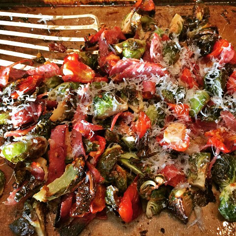Easy Roasted Brussels Sprouts Cherry Tomatoes amp Salami Recipe! Greathellip