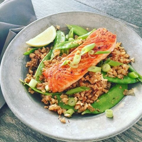 Asian Salmon Riced Cauliflower Bowl Recipe!! livelovelaughfood healthyrecipes salmon cauliflowerhellip