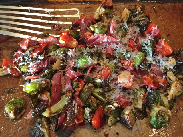 Roasted Brussels Sprouts, Cherry Tomatoes & Salami – Recipe! Image 1
