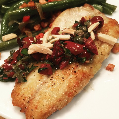 Easy Weeknight Crispy Branzino with OliveCaper Gremolata Recipe! wwwgenabellcom Keephellip