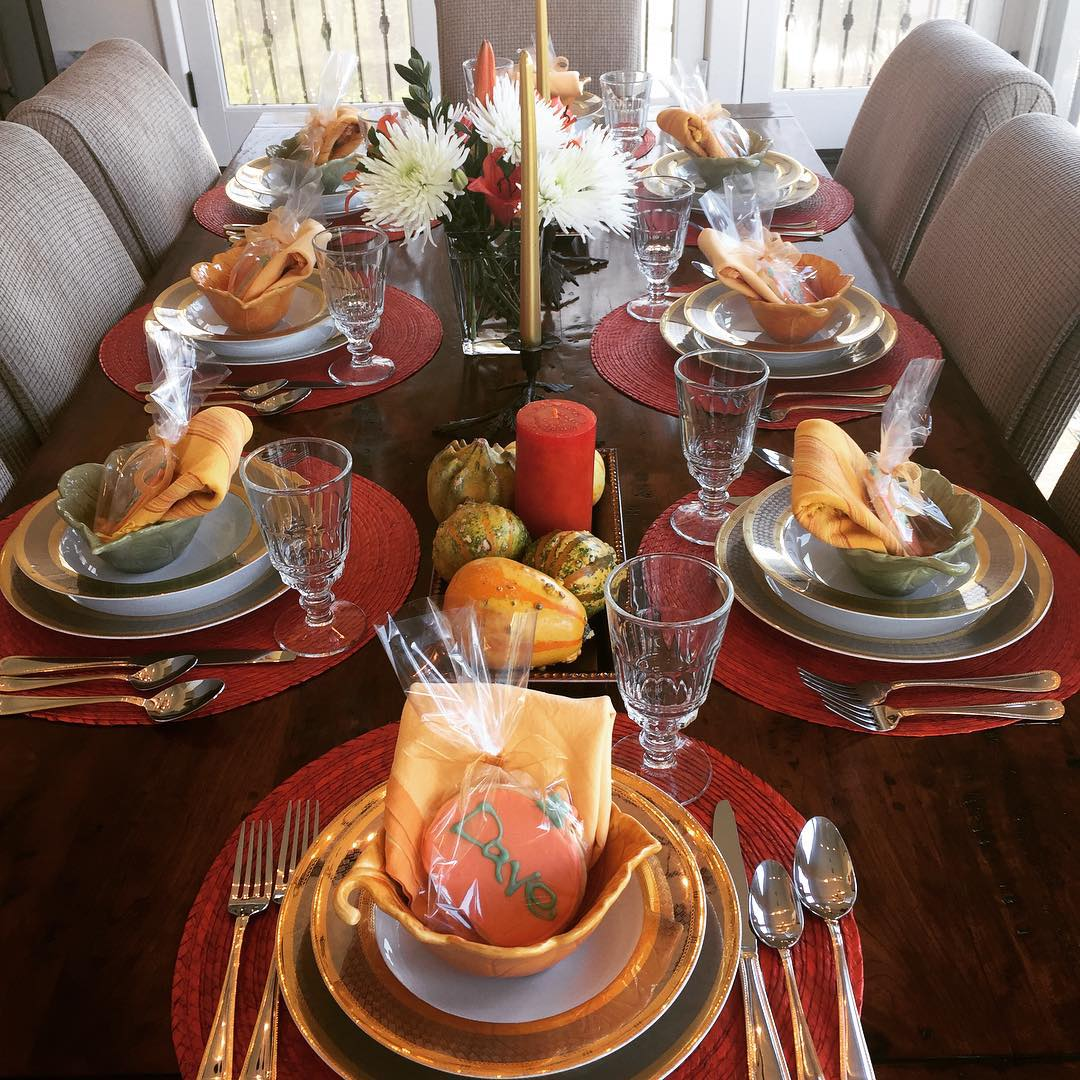Thanksgiving Tablescape! Getting ready for Turkey Day! tablescape tablesetting Thanksgivinghellip