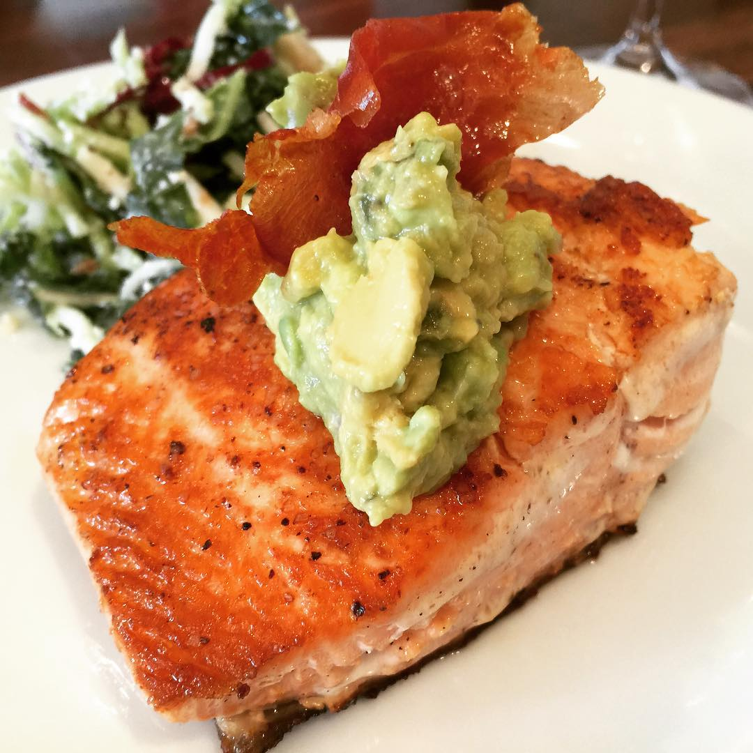 Tonights Dinner  Seared Salmon with Avocado Mash amp Prosciuttohellip