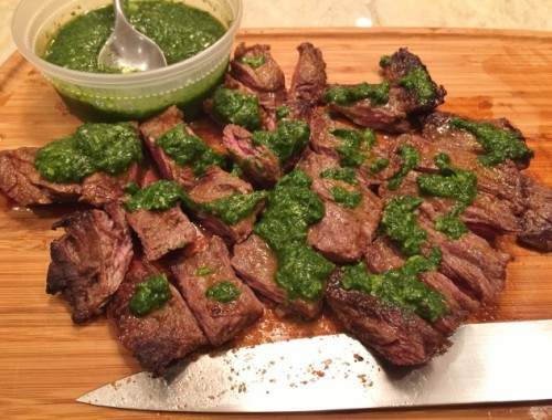 Easy Stovetop Argentinian Beef with Cilantro Chimichurri – Recipe!