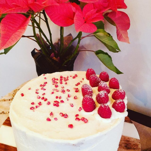 Festive Holiday Cake with Raspberry Pomegranate Filling! Recipe soon! livelovelaughfoodhellip