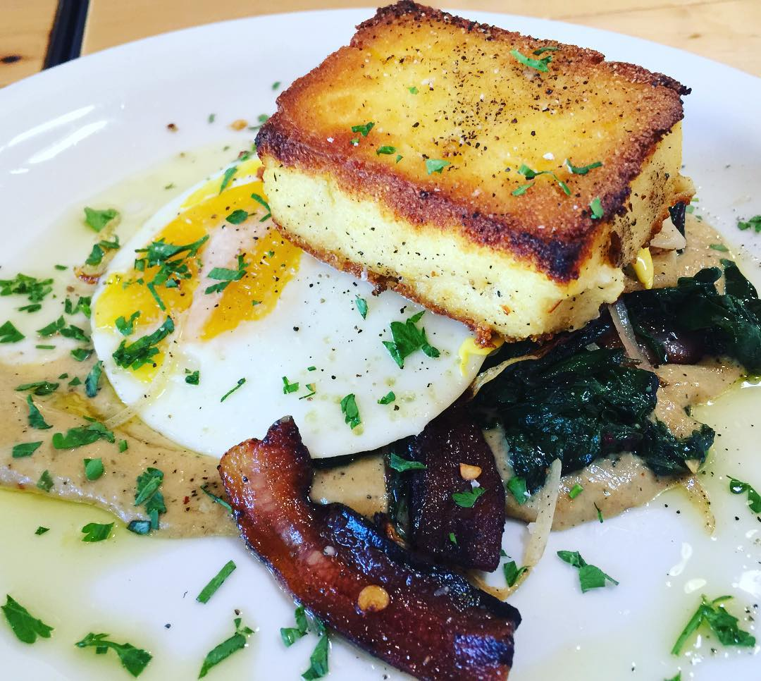 Grilled Polenta Sauted Kale Fried Egg Robiola Sauce amp Bacon!hellip