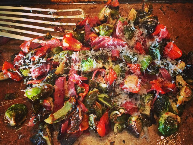 Roasted Brussels Sprouts Cherry Tomatoes amp Salami! Makes a greathellip