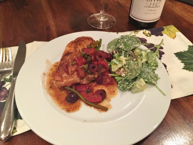 Roasted Chicken with Roasted Red Peppers, Olives & Asparagus 100 (640x480)