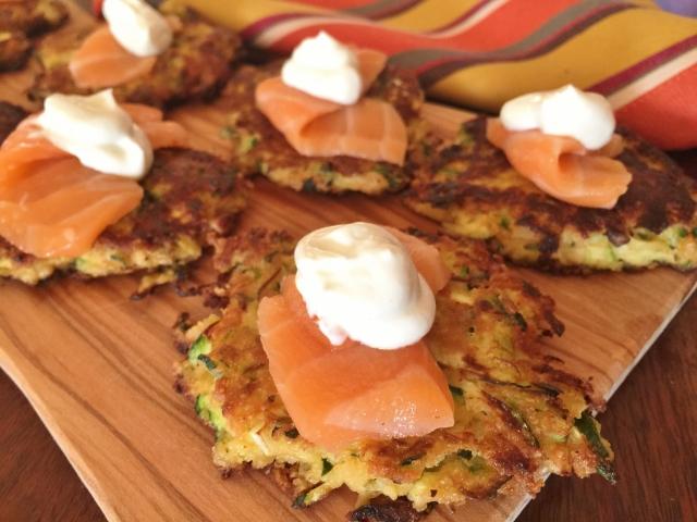 Zucchini Cakes with Salmon Sashimi & Wasabi Cream – Recipe! Image 1
