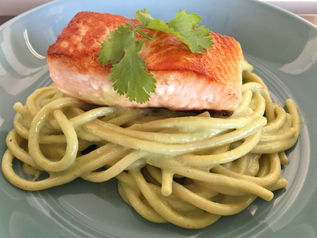 Avocado & Cilantro Pesto Bucatini with Seared Salmon – Recipe! Image 1