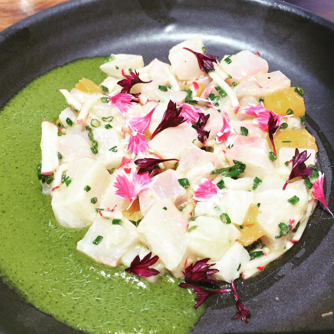 Yellowtail Crudo with Nasturtium Velout at Rose Cafe Venice! Checkhellip