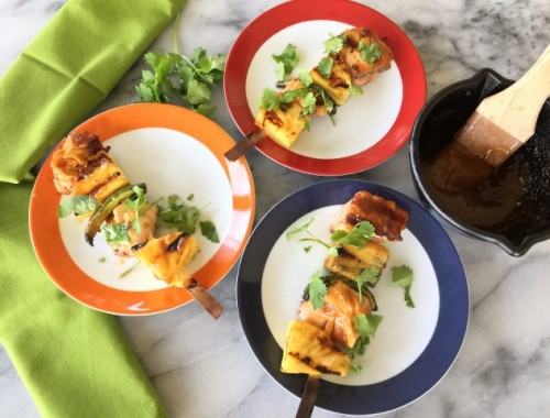 Salmon, Pineapple & Jalapeno Kebabs with Honey Miso Glaze – Recipe!