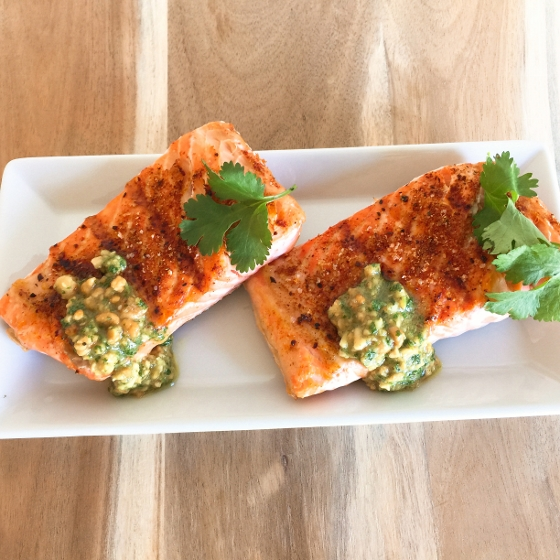 Grilled Argetinian Salmon with Peanut Cilantro Sauce 045 (560x560)