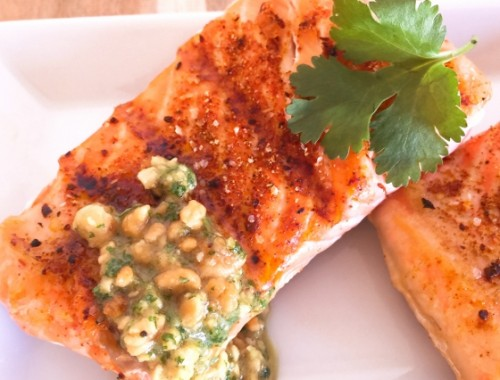 Grilled Argentinian Salmon with Cilantro Peanut Sauce – Recipe!