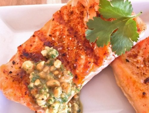Grilled Argentinian Salmon with Cilantro Peanut Sauce – Recipe!