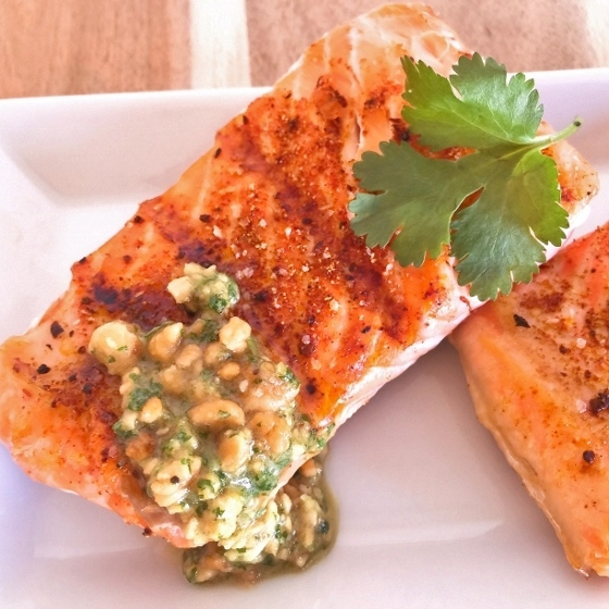 Grilled Argentinian Salmon with Cilantro Peanut Sauce – Recipe! Image 1