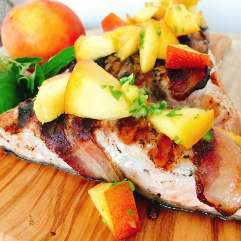 Grilled Bacon Wrapped Salmon with Summer Peach Salsa – Recipe! Image 1
