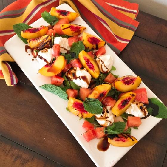 Watermelon, Grilled Peach & Burrata Salad – Recipe! Image 1