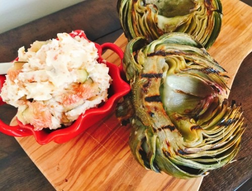 Grilled Artichoke with Toasted Garlic & Fig Butter – Recipe!