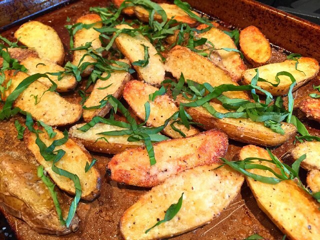 Crispy Exterior and Creamy Interior  Parmesan Basil Fingerlings! Recipehellip