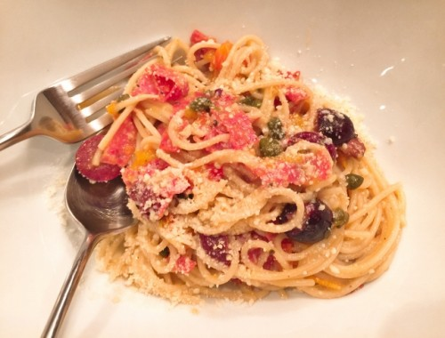 Pasta Puttanesca with Salami – Recipe!