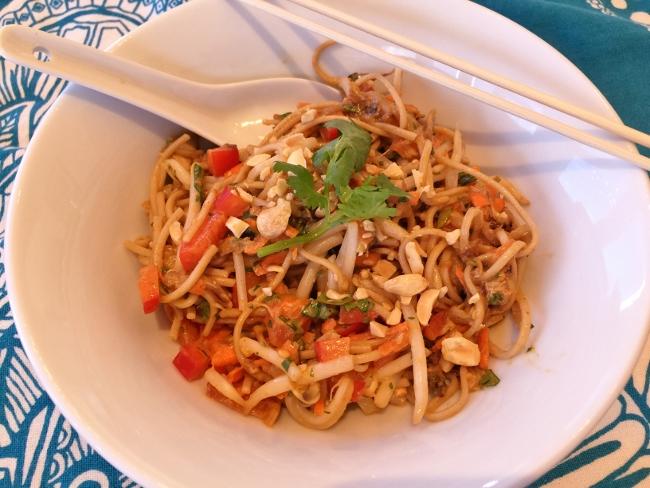 Soba Noodles, Chicken & Eggplant Salad with Thai Peanut Dressing – Recipe! Image 1