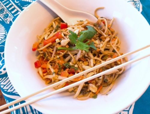 Thai Peanut Chicken, Noodle & Eggplant Salad – Recipe!